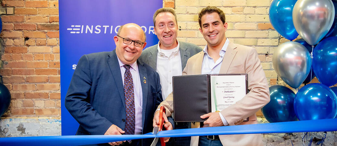 Insticator Grand Opening with Mayor Vrbanovic, Waterloo EDC CEO Tony LaMantia, and Insticator CEO Zack Dugow