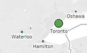 Finance and insurance clusters in the Toronto-Waterloo Corridor